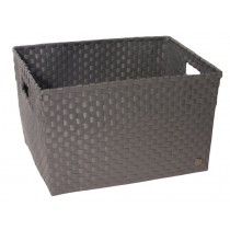 Open basket with open handles in darkgrey by Handed By