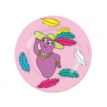 Pink melamine plate with Barbabella by Petit Jour