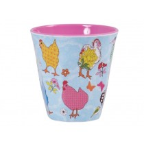 Melamine cup two tone with hen print by RICE