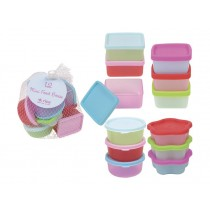 12 assorted mini plastic food keepers in net by RICE
