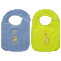 Set of coloured bibs with Sophie the giraffe
