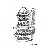 Colouring image XXL CHEESEBURGER