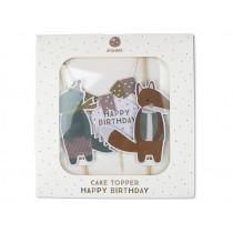 Ava & Yves Cake Topper HAPPY BIRTHDAY