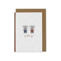 """Ava & Yves Greeting Card KOALAS """"Zwillinge"""""""