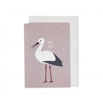 Ava & Yves Greeting Card HELLO BABY Stork pink
