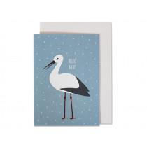 Ava & Yves Greeting Card HELLO BABY Stork blue
