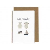 "Ava & Yves Greeting Card BEAR ""Hallo Wunder"" rose"