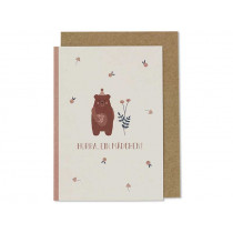"Ava & Yves Greeting Card BEAR ""Hurra, ein Mädchen!"""