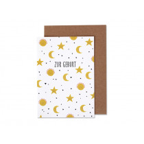 Ava & Yves Greeting Card Moon & Stars BIRTH