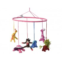 Babylonia baby mobile JUNGLE ANIMALS pink