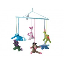 Babylonia baby mobile JUNGLE ANIMALS turquoise