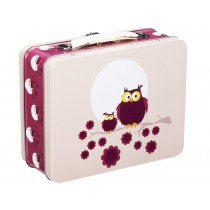 Blafre metal lunchbox owl plum red