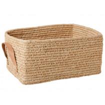 RICE basket leather grips rectangular NATURAL