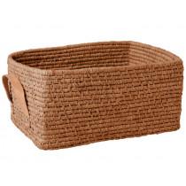 RICE basket leather grips rectangular TEA