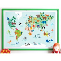 byGraziela wildlife world map POSTER