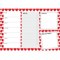 byGraziela weekly planner A4 HEARTS RED