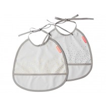 Done by Deer Tiny Bib 2-pack Happy Dots grey