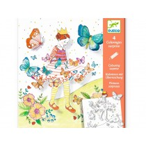 Djeco Surprise Colouring Sheets LADY BUTTERFLY