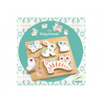 Djeco Baby White Wooden Puzzle BABYANIMALI