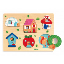 Djeco Wooden Plug-In Puzzle COUCOU-HOUSE