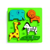 Wooden baby puzzle with wild animals by Djeco
