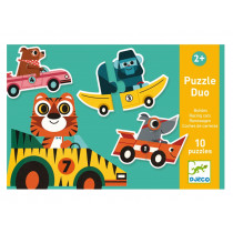 Djeco Educational Games PUZZLE DUO/TRIO RACING CARS