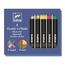 Djeco 8 Oil Pastels Pop Colours