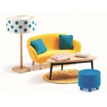 Djeco dollhouse orange living room