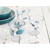 Done by Deer mini glass set SEA FRIENDS blue