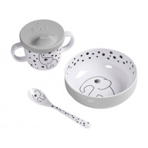 Done by Deer HAPPY DOTS baby tableware set grey