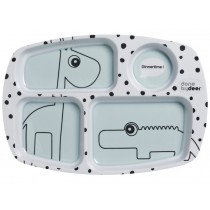 Done by Deer dots compartment plate blue
