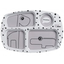 Done by Deer dots compartment plate grey