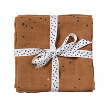 Done by Deer Burp and Swaddle Cloth 2-pack DREAMY DOTS ochre