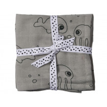 Done by Deer Burp and Swaddle Cloth 2-pack SEA FRIENDS grey