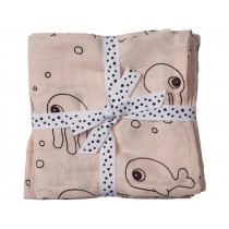 Done by Deer Burp and Swaddle Cloth 2-pack SEA FRIENDS powder