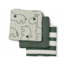 Done by Deer Burp Cloth 3-pack DEER FRIENDS green