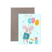 Frau Ottilie Birthday greeting card ALLES GUTE mouse
