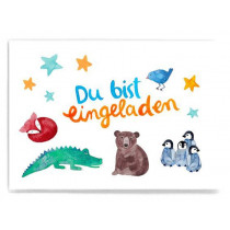 Frau Ottilie Postcard YOU ARE INVITED for children's birthday party