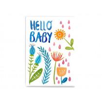 Frau Ottilie Postcard HELLO BABY flowers