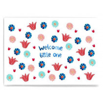 Frau Ottilie Postcard WELCOME LITTLE ONE flowers