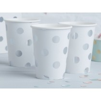 Ginger Ray PAPER CUPS polka dots silver
