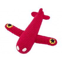 Global Affairs Knitted Rattle AIRPLANE red