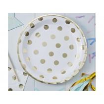 Ginger Ray PAPER PLATES polka dots gold