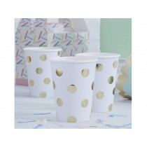 Ginger Ray PAPER CUPS polka dots gold
