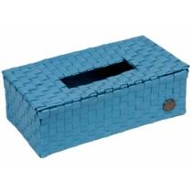 """Handed By tissue box """"Luzzi"""" in stone blue"""