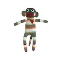 Hickups sock monkey grey/white/green
