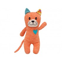 Hickups Knitted Cat ORANGE with heart