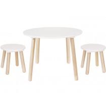 JaBaDaBaDo ROUND TABLE & TWO STOOLS white