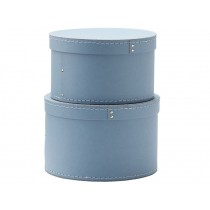 Kids Concept storage box round 2-set BLUE