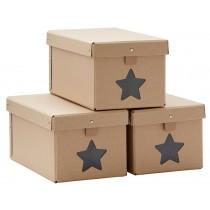Kids Concept shoe boxes 3-set NATURAL